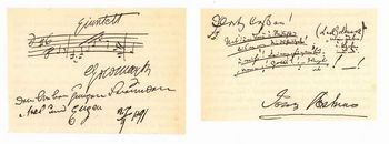 Johannes Brahms' signature in guestbook