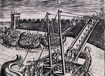 Roman fleet attacking fortress using ladders on boats