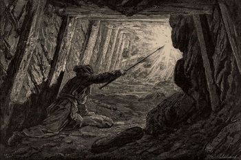 or, Mines and Miners, by Louis Simonin, 1869, wood engraving, mining, history, vintage, archival, 19th century,