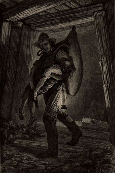 or, Mines and Miners, by Louis Simonin, 1869, wood engraving, history, vintage, archival, 19th century,