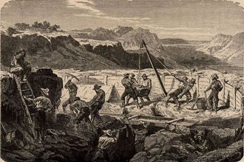 or, Mines and Miners, by Louis Simonin, 1869, wood engraving, history, 19th century, vintage, archival,