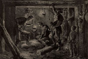 or, Mines and Miners, by Louis Simonin, 1869, wood engraving, mining, metal, history, 19th century, vintage, archival,
