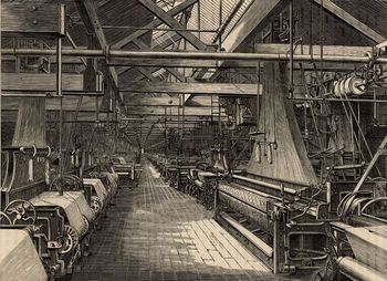 Interior of weaving shed at Erskine Beveridge & Comapny factory