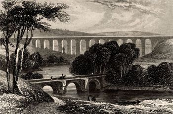 View of Ellesmere Canal and Pont-y-Cysyllte aqueduct