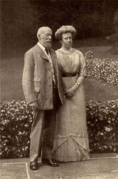 George Cadbury and his wife posing outdoors