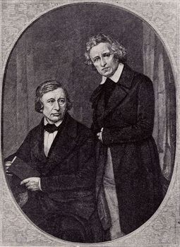German philologists Wilhelm Carl Grimm and Jacob Ludwig Carl Grimm