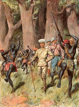 Expedition emerging from the Congo jungle, 1889
