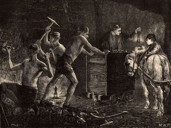 South Durham miners at work at the coal face, 1871
