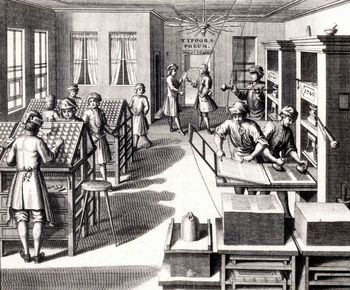 Workers in 18th century printing workshop