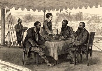 English explorers on expedition in the Sudan, Africa, 1860-63