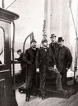 Group of Swedish explorers before voyage to the North Pole, 1897