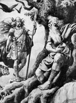 Norse god of war, Odin, with animals