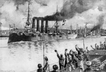 Russian warship Varyag departing from port in Russo-Japanese War