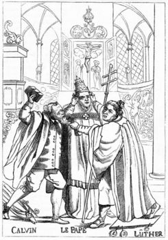 Cartoon of Calvin, Luther and the Pope fighting each other