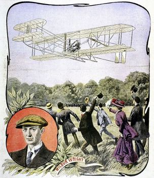 Wright Brothers plane landing in Le Mans, France