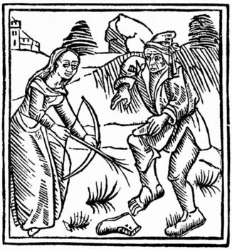 Witch shooting a man in the foot with a magic arrow