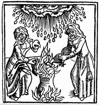 Witches casting a spell to bring rain
