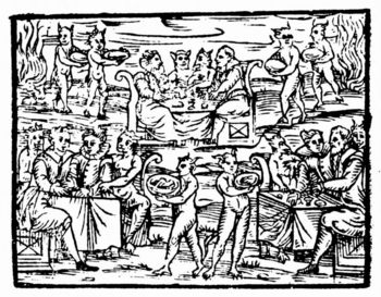 Witches and sorcerers feasting