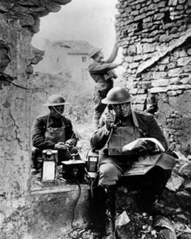 United States Army Signal Corps using captured German telephone equipment