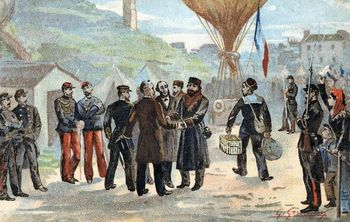 Leon Gambetta escaping Paris by balloon during Franco-Prussian War
