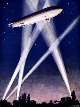 Zeppelin and searchlights