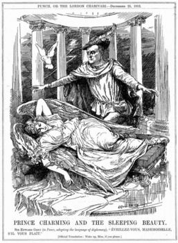 Illustration of Sir Edwarad Grey with sleeping Peace