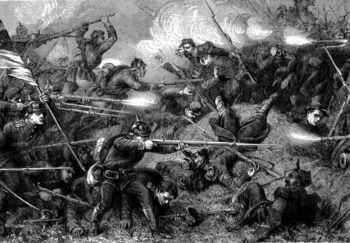 French and Prussian troops fighting