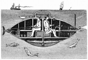 Cross-section of electrically powered submarine