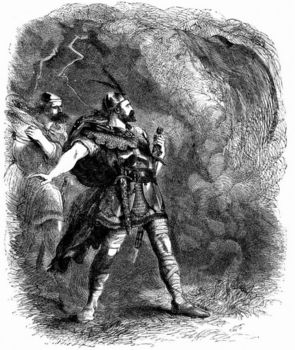 Art depicting Macbeth and Banquo encountering the Three Witches