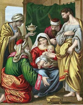 Magi presenting gifts to infant Jesus