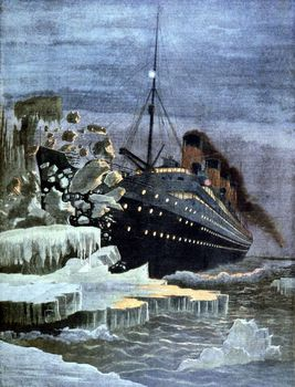 Illustration of SS Titanic colliding with iceberg