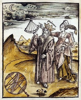 Ptolemy with quadrant and muse observing the moon and stars