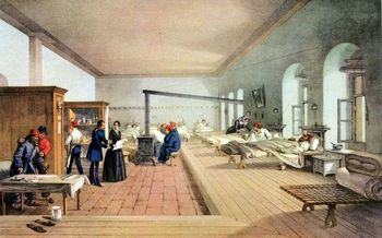 Florence Nightingale inspecting hospital ward during the Crimean War