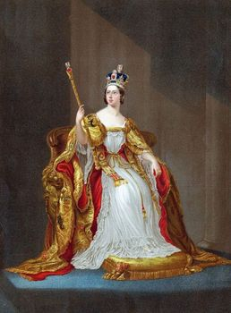 Queen Victoria wearing crown and coronation robes