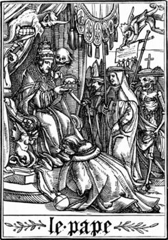 The Pope visited by Death, Dance of Death, 16th century