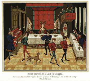 French noblewoman dining with members of household