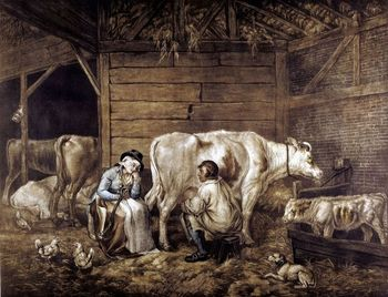 Milkmaid and cowman in barn milking cows