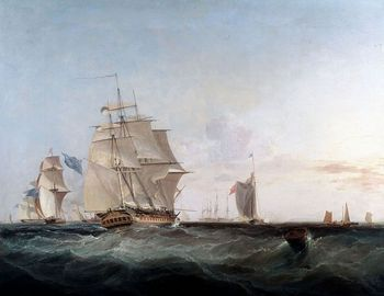 Painting of ships by George Chambers