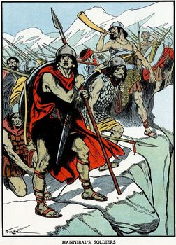 Carthaginian general Hannibal's army crossing the Alps 218 BC