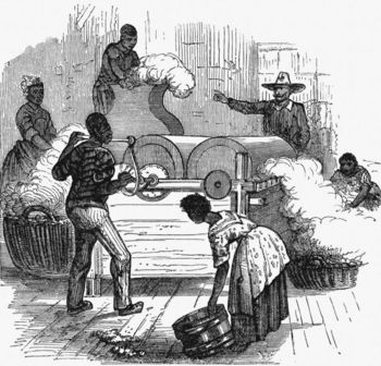 Slave plantation labour in southern states of USA, 1860