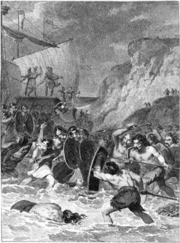 Roman soldiers battling natives on shore of Britain