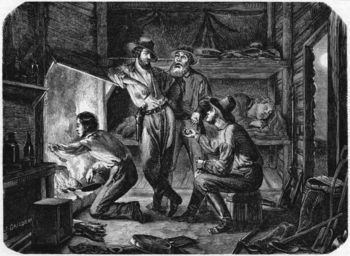 Miners relaxing in cabin during gold rush