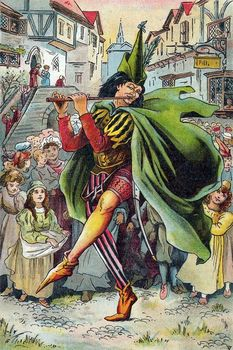 Pied Piper leading children away from German town of Hamelin