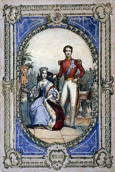 Framed lithograph of Queen Victoria and Prince Albert