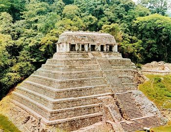 Pyramids and Temple-of-the-Inscriptions, Palenque, Mexico
