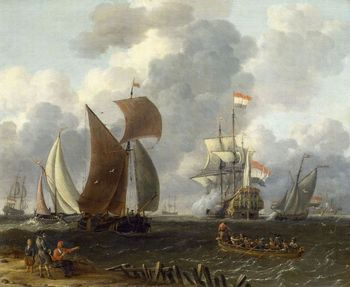 Dutch warship in a calm sea painting