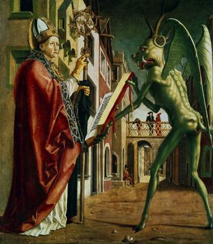 The Devil presenting St Augustine with the book of vices by Michael Pacher