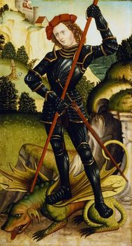 Painting depicting St. George and the Dragon