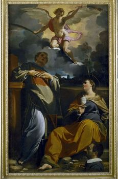 Painting depicting St. Agatha and St. Etienne with angel