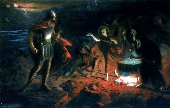 Painting depicting Macbeth and three witches
